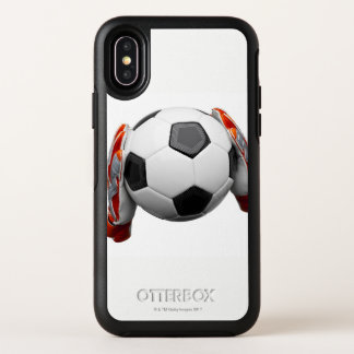 Two goal keepers gloves holding a football OtterBox symmetry iPhone x case
