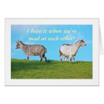 """Two Goats, Backs To Each Other. """"i Hate It When We Card at Zazzle"""