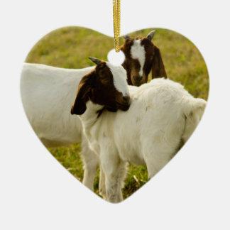Two Goats Ceramic Ornament