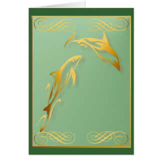Two Gold Dolphins Card