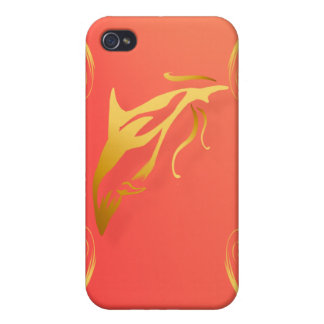 Two Gold Dolphins Case For iPhone 4
