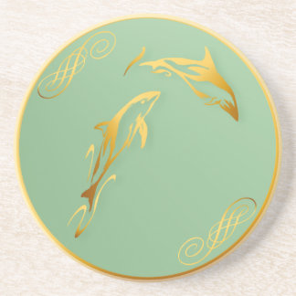 Two Gold Dolphins Coaster