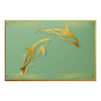 Two Gold Dolphins Poster