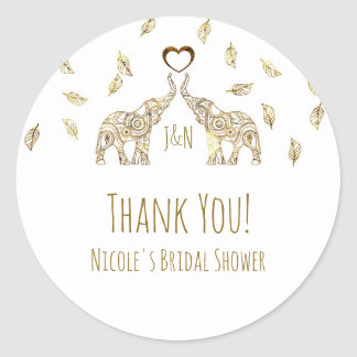 Two Gold Elephants & Fall Leaves Wedding Favor Classic Round Sticker