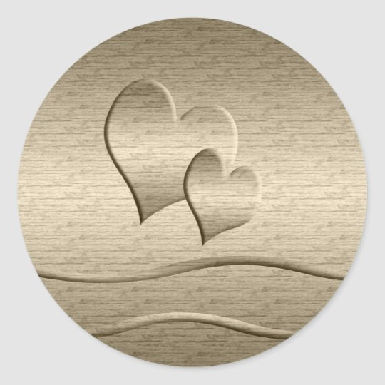 Two gold Hearts Classic Round Sticker