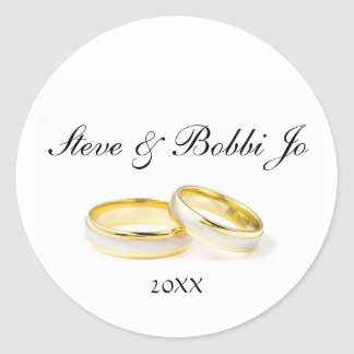 Two Gold Rings Personal Round Wedding Sticker