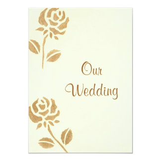 """Two Gold Roses, Gold Wedding Invitations 5"""" X 7"""" Invitation Card"""
