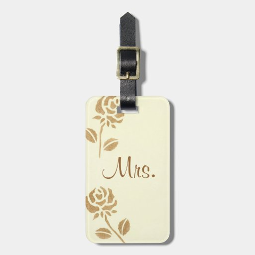 Two Gold Roses Personalized Mrs. Luggage Tags