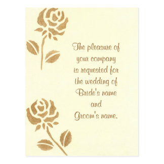 Two Gold Roses wedding invitation postcards