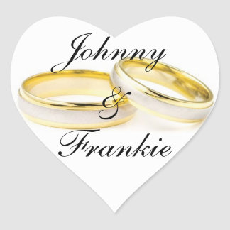 Two Gold Wedding Rings Personalized Wedding Heart Sticker