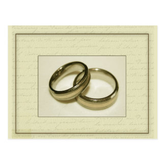 Two gold wedding rings postcard