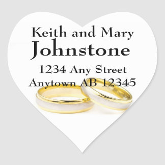 Two Gold Wedding Rings Return Address Label