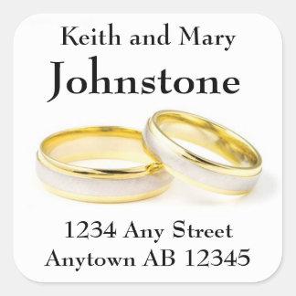 Two Gold Wedding Rings Return Address Label Square Sticker
