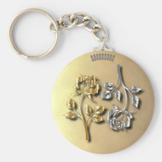 Two Golden And Silver Roses With Shadows Keychain
