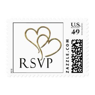 Two golden heart rsvp postage stamp
