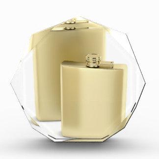 Two golden hip flasks award