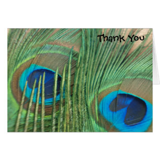 Two Golden Peacock Feathers Wedding Thank You Card
