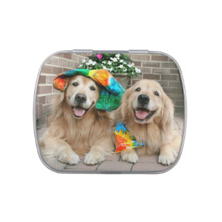 Two Golden Retriever Dogs Colorful Groovy Candy Tins