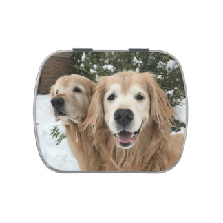 Two Golden Retriever Dogs in the Snow Candy Tin