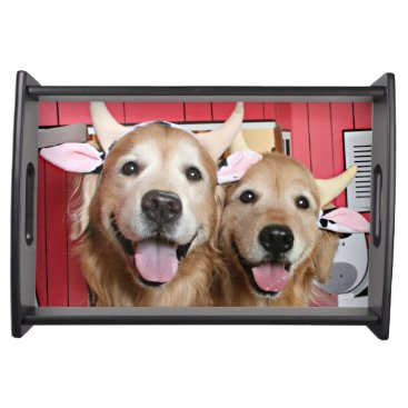 Halloween Themed Two Golden Retrievers in Cow Costumes Halloween Serving Tray
