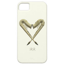Two Golden Saxophones Heart Shape on iPhone 5 Case at Zazzle