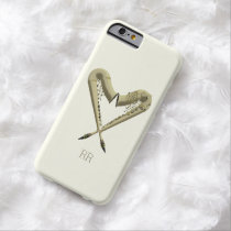 Two Golden Saxophones Heart Shape on iPhone 6 Case at Zazzle
