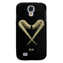 Two Golden Saxophones in Heart Shape Galaxy S4 Samsung Galaxy S4  Case at Zazzle