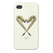 Two Golden Saxophones in Heart Shape on a iPhone 4 iPhone 4 Cover  at Zazzle