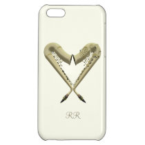 Two Golden Saxophones in Heart Shape on iPhone 5 iPhone 5C Cover  at Zazzle
