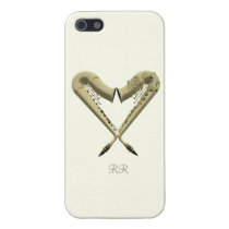 Two Golden Saxophones in Heart Shape on iPhone 5 Cover For iPhone  5 at Zazzle
