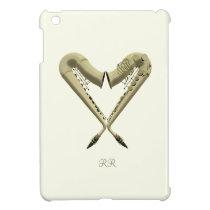 Two Golden Saxophones Romance Heart iPad Mini Case at Zazzle
