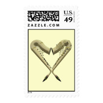 Two Golden Saxophones Romance Heart Stamps at Zazzle