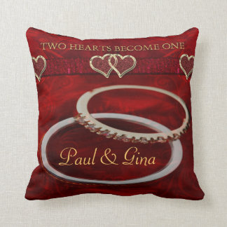 Two Golden Wedding Rings Pillows
