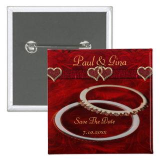 Two Golden Wedding Rings Pinback Button
