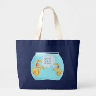 Two Goldfish In A Tank Large Tote Bag