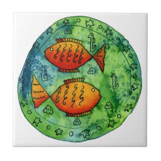 Two Goldfish in the Sea Ceramic Tile