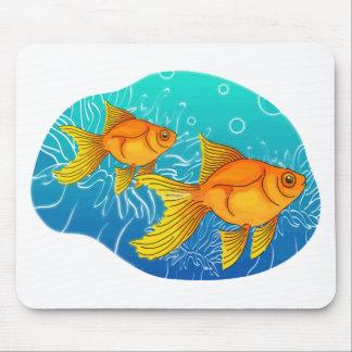 Two Goldfish on Aqua Sea Mouse Pad