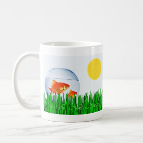 Two Goldfish Sun Spring Equinox Grass سال نو مبار Coffee Mug