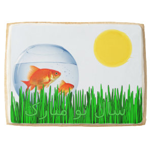 Two Goldfish Sun Spring Equinox Grass سال نو مبار Shortbread Cookie