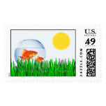 Two Goldfish Sun Spring Equinox Tall Grass Postage Stamp