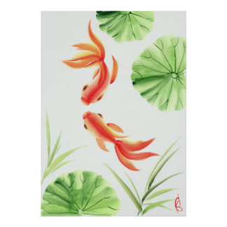 Two goldfishes poster