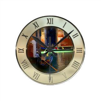 Two Gondolas in Venice Round Clock