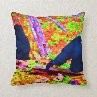 two gorillas sitting backs bright colored blobs.jp throw pillow