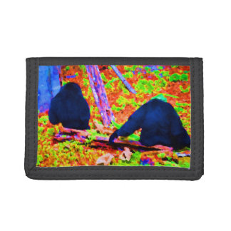 two gorillas sitting backs bright colored blobs.jp trifold wallets