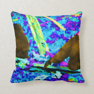two gorillas sitting backs bright colored blobs pillow