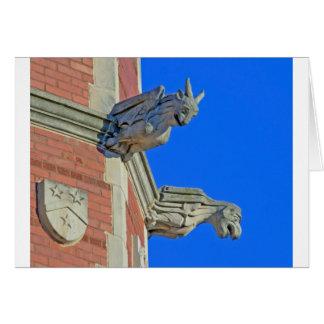 Two Gothic Gargoyles on Tower Card