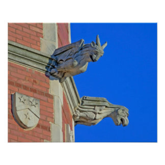 Two Gothic Gargoyles on Tower Poster