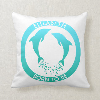 Two Gradient Turquoise Jumping Dolphins Throw Pillow