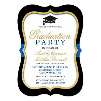 Two Grads - Gold Bracket Frame Graduation Party Card