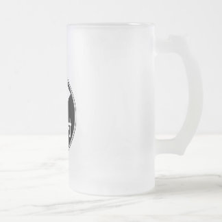 Two gradual right turn (black) frosted glass beer mug